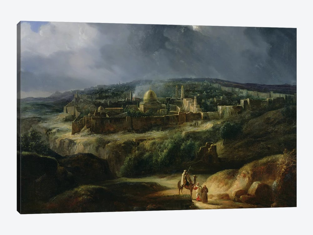 View of Jerusalem from the Valley of Jehoshaphat, 1825  by Auguste Forbin 1-piece Canvas Art Print