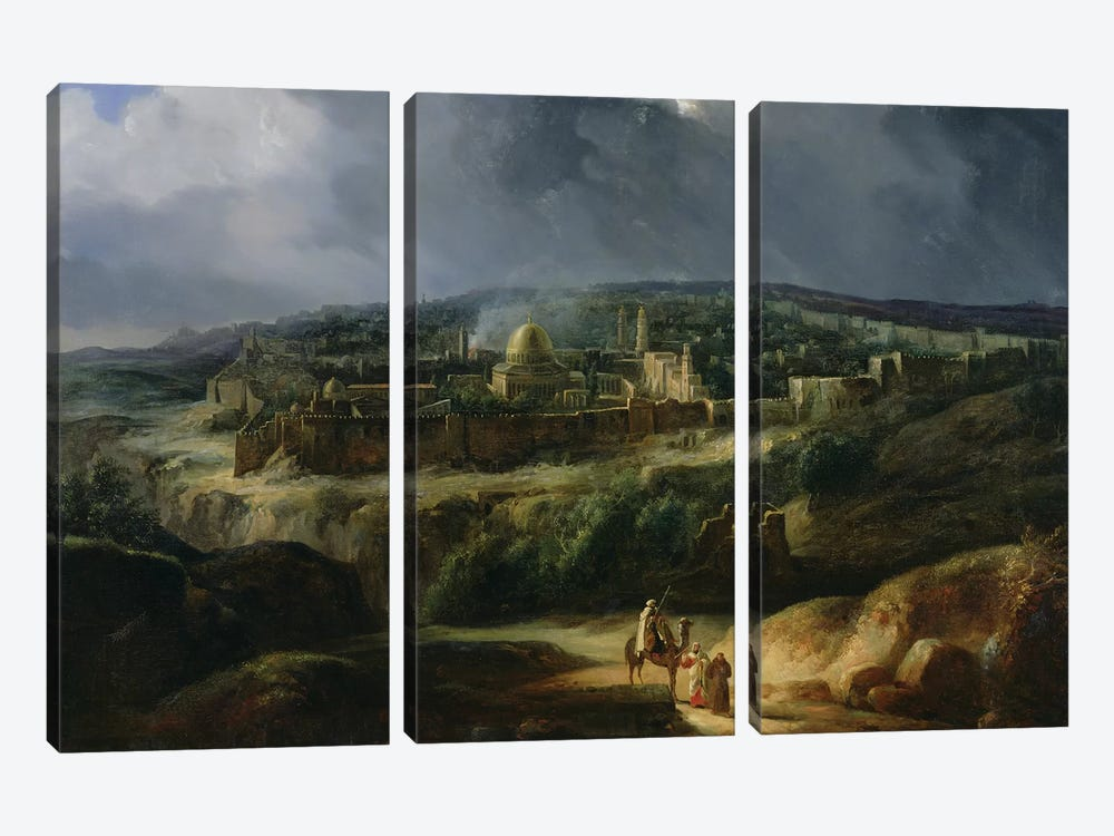 View of Jerusalem from the Valley of Jehoshaphat, 1825  by Auguste Forbin 3-piece Canvas Art Print