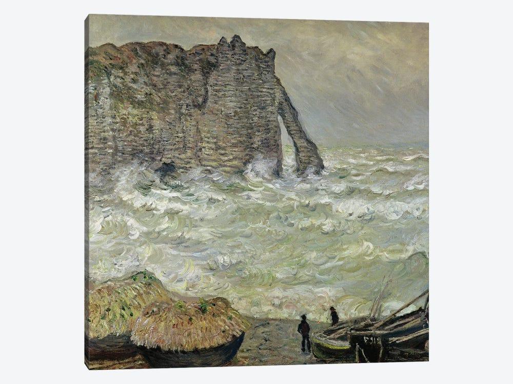 Rough Sea at Etretat, 1883  by Claude Monet 1-piece Canvas Wall Art
