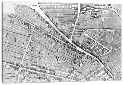 Plan of Paris, known as the 'Plan de Turgot', engraved by Claude Lucas, 1734-39  Canvas Art Print
