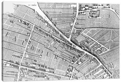 Plan of Paris, known as the 'Plan de Turgot', engraved by Claude Lucas, 1734-39  Canvas Art Print