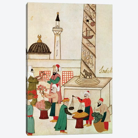 Ms 1671 A Bazaar in Istanbul, c.1580  Canvas Print #BMN2797} by Islamic School Art Print