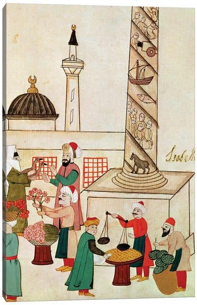 Ms 1671 A Bazaar in Istanbul, c.1580  Canvas Art Print