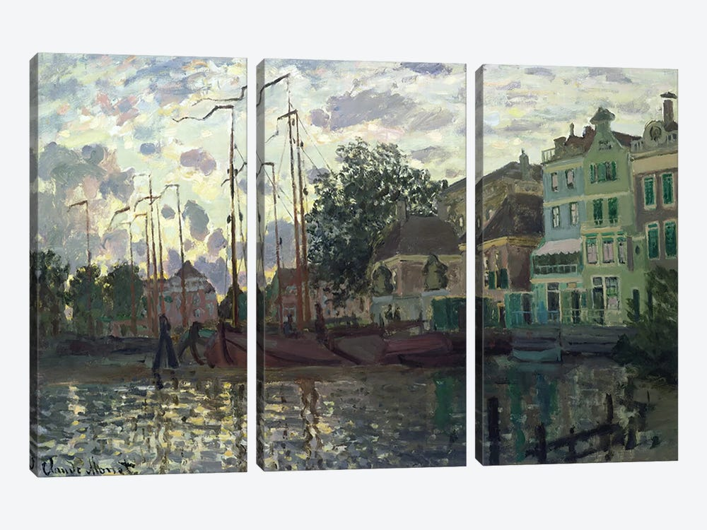 The Dam at Zaandam, Evening, 1871  by Claude Monet 3-piece Canvas Art
