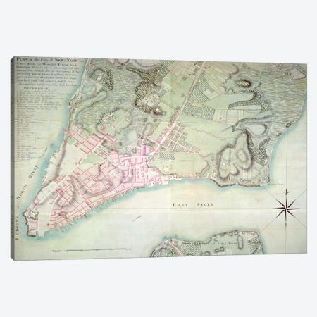 Plan of New York, 1776  Canvas Print #BMN279} by English School Canvas Print