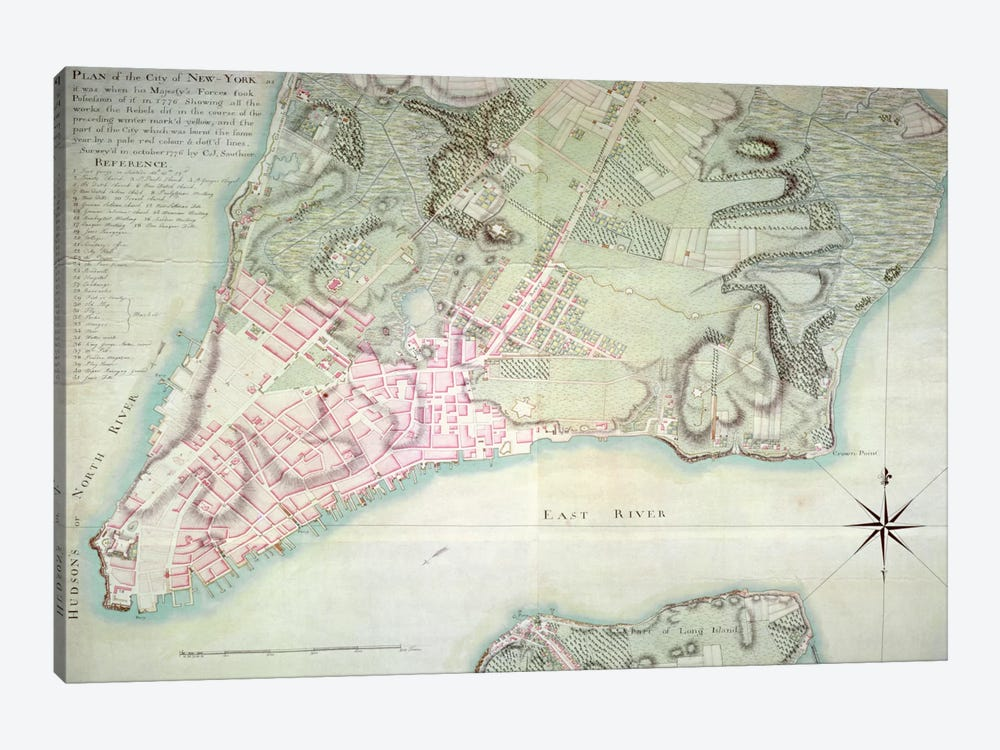 Plan of New York, 1776 by English School 1-piece Canvas Artwork
