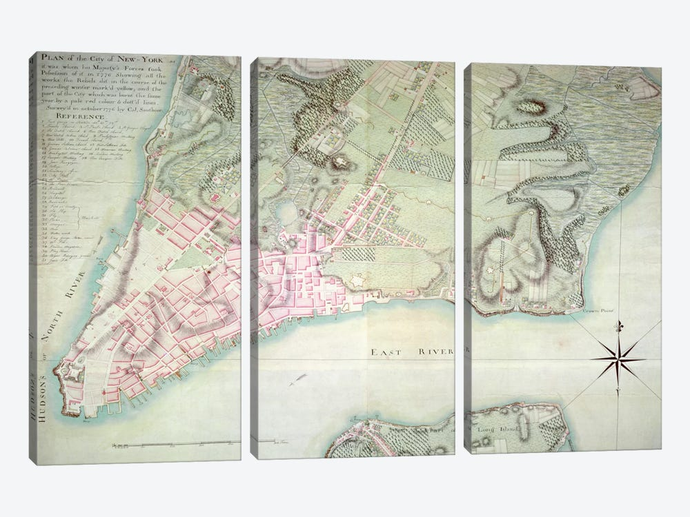 Plan of New York, 1776 by English School 3-piece Canvas Artwork