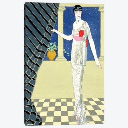 My Guests have not Arrived, illustration of a woman in a dress by Redfern (pochoir print) Canvas Print #BMN27} by Georges Barbier Art Print