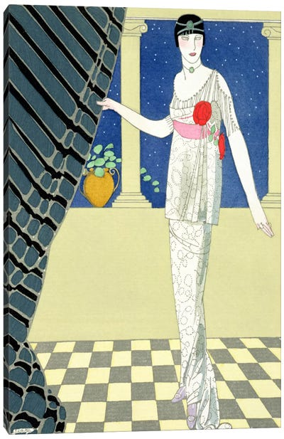 My Guests have not Arrived, illustration of a woman in a dress by Redfern (pochoir print) Canvas Art Print