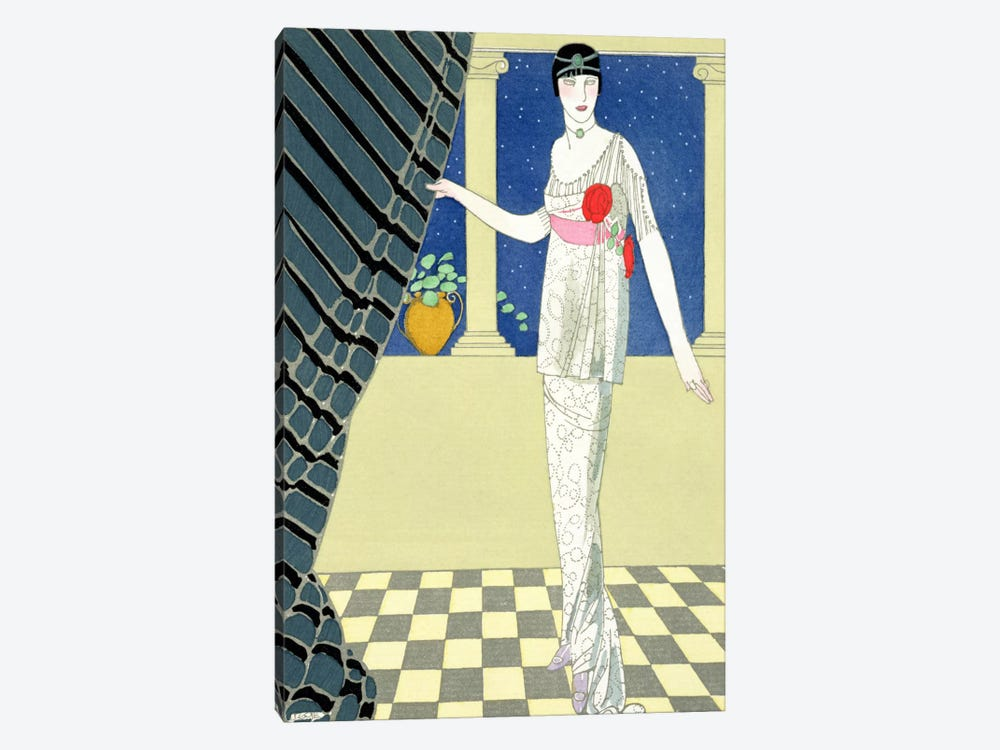 My Guests have not Arrived, illustration of a woman in a dress by Redfern (pochoir print) by George Barbier 1-piece Canvas Art Print