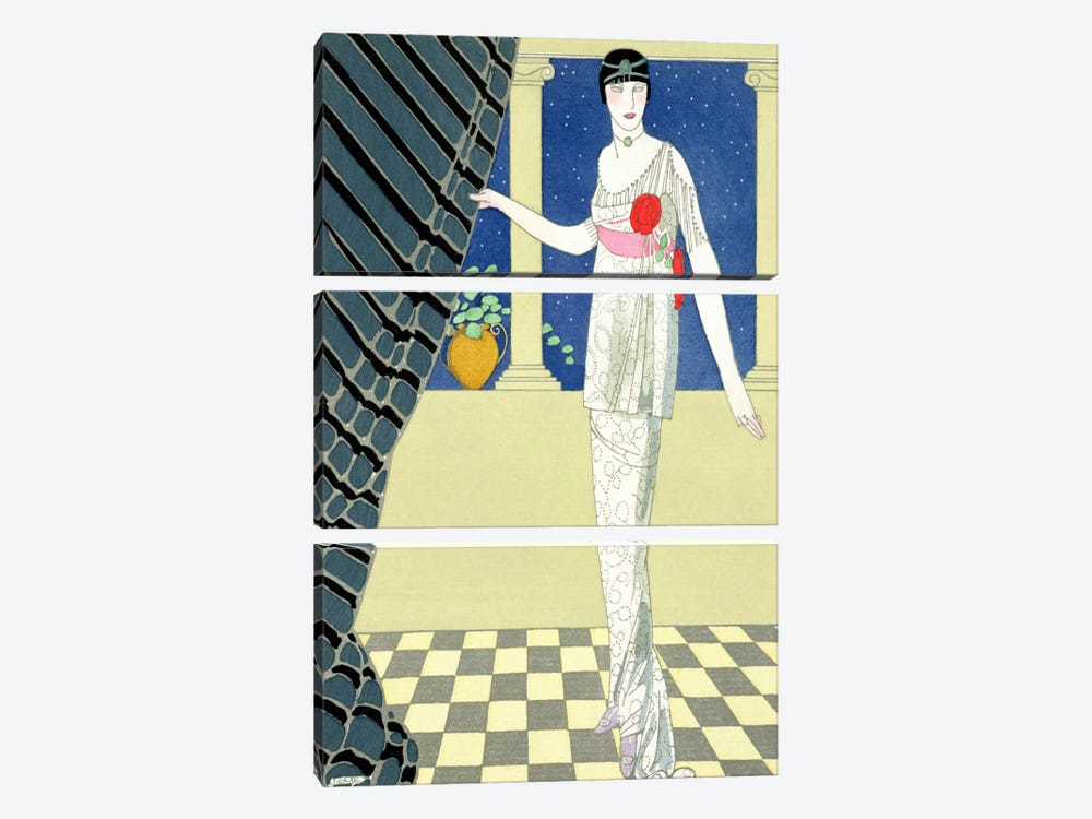 My Guests have not Arrived, illustration of a woman in a dress by Redfern (pochoir print) by George Barbier 3-piece Canvas Print