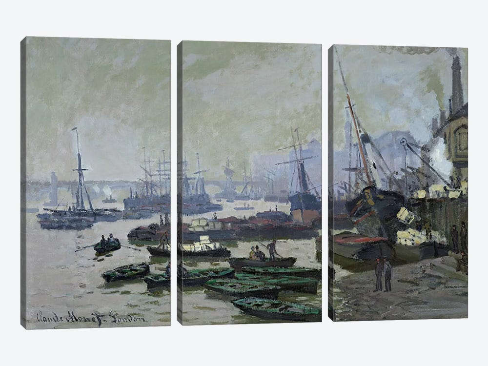 Boats in the Pool of London, 1871  by Claude Monet 3-piece Canvas Art Print