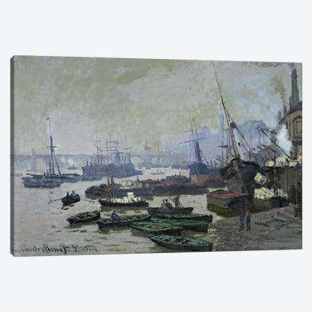 Boats in the Pool of London, 1871  3-Piece Canvas #BMN2803} by Claude Monet Canvas Art