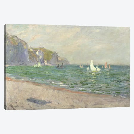 Boats below the Cliffs at Pourville, 1882  Canvas Print #BMN2807} by Claude Monet Art Print