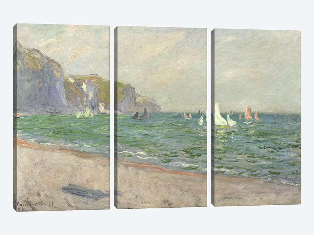 Boats below the Cliffs at Pourville, 1882  by Claude Monet 3-piece Canvas Print