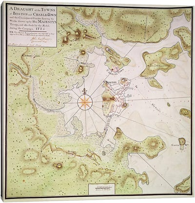 Plan of Towns of Boston and Charlestown, 1775  Canvas Art Print
