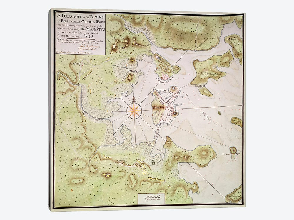 Plan of Towns of Boston and Charlestown, 1775 by English School 1-piece Canvas Artwork