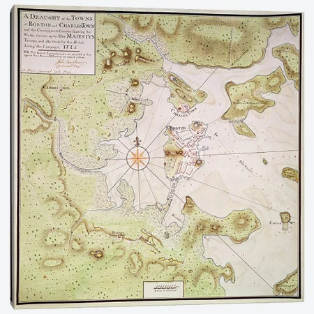 Plan of Towns of Boston and Charlestown, 1775  Canvas Print #BMN280} by English School Canvas Artwork