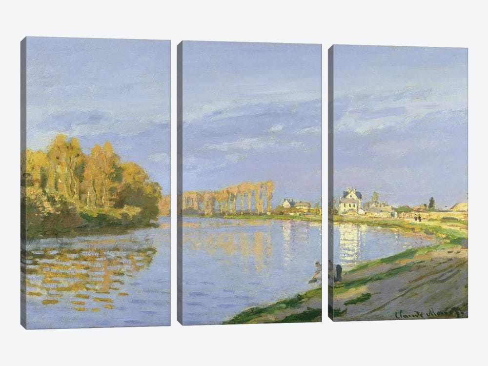The Seine at Bougival, 1872  by Claude Monet 3-piece Art Print