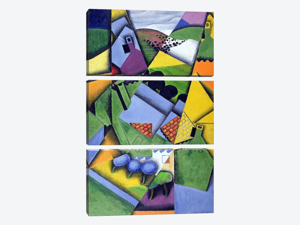 Landscape and Houses at Ceret, 1913 by Juan Gris 3-piece Canvas Wall Art