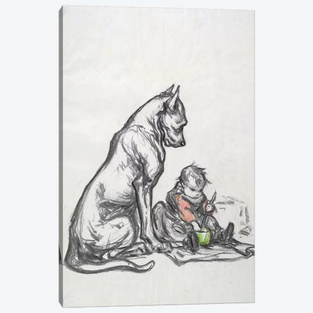 Dog and child, early 20th century  Canvas Print #BMN2818} by Robert Noir Art Print
