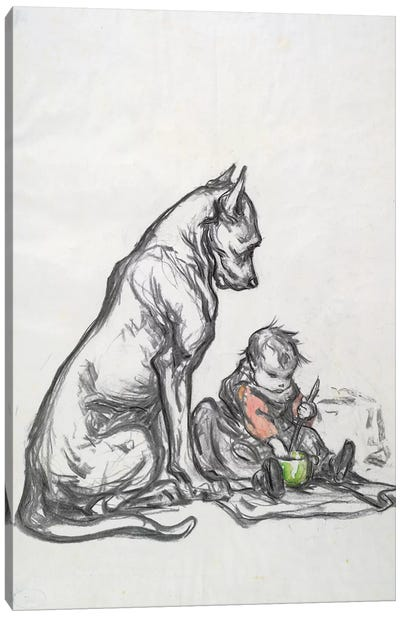 Dog and child, early 20th century  Canvas Art Print