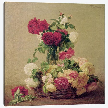 Roses, 1891  Canvas Print #BMN2820} by Ignace Henri Jean Theodore Fantin-Latour Canvas Art