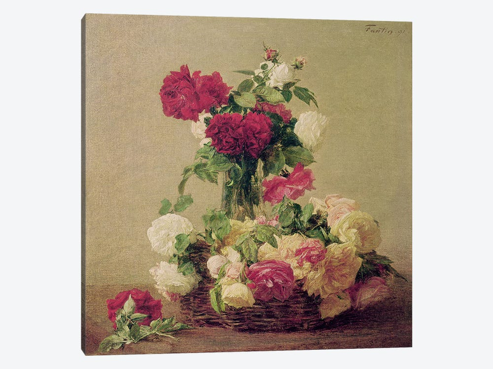 Roses, 1891  by Ignace Henri Jean Theodore Fantin-Latour 1-piece Canvas Wall Art