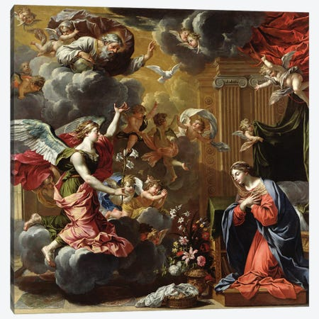 The Annunciation, 1651-52  Canvas Print #BMN2822} by Charles Poerson Canvas Art