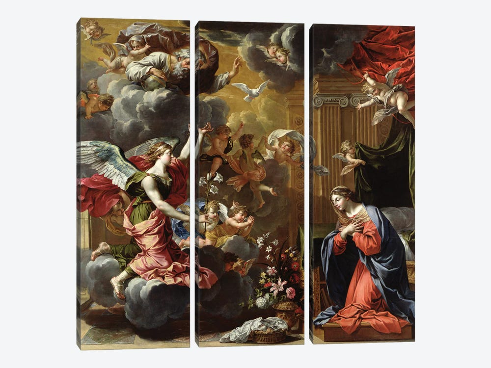The Annunciation, 1651-52  by Charles Poerson 3-piece Canvas Wall Art