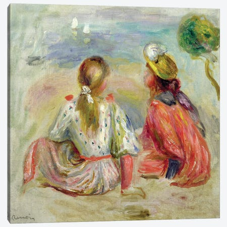 Young Girls on the Beach, c.1898  Canvas Print #BMN2823} by Pierre-Auguste Renoir Canvas Artwork