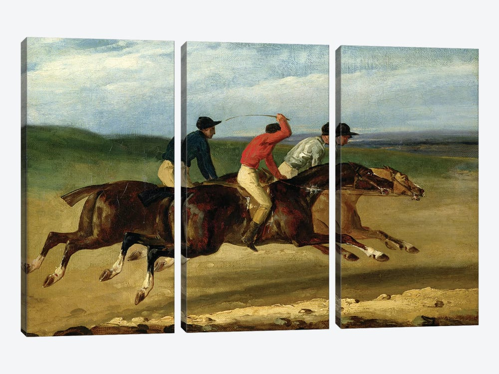 The Horse Race  by Theodore Gericault 3-piece Canvas Print