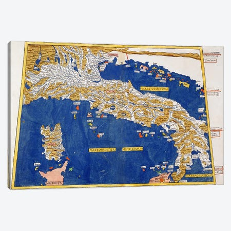 Ptolemaic Map of Italy, 1482  Canvas Print #BMN2839} by Nicolaus Germanus Canvas Art Print