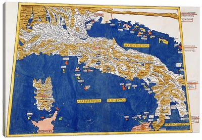 Ptolemaic Map of Italy, 1482 Canvas Art Print