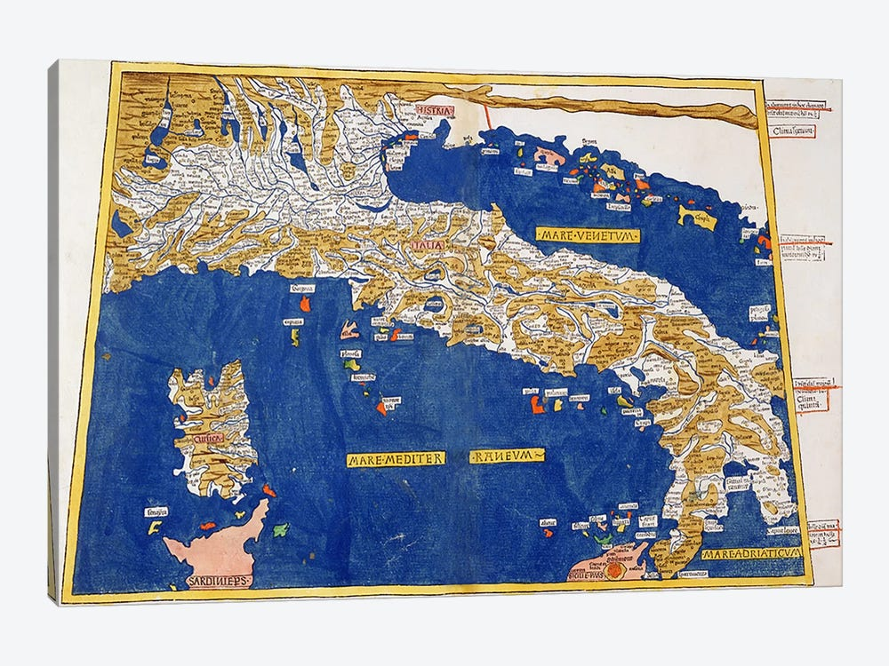 Ptolemaic Map of Italy, 1482  by Nicolaus Germanus 1-piece Canvas Art