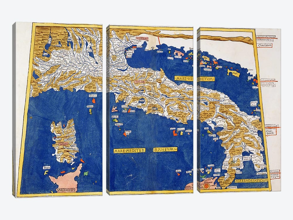 Ptolemaic Map of Italy, 1482  by Nicolaus Germanus 3-piece Canvas Art