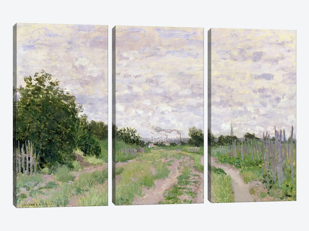 Path through the Vines, Argenteuil, 1872 by Claude Monet 3-piece Canvas Wall Art