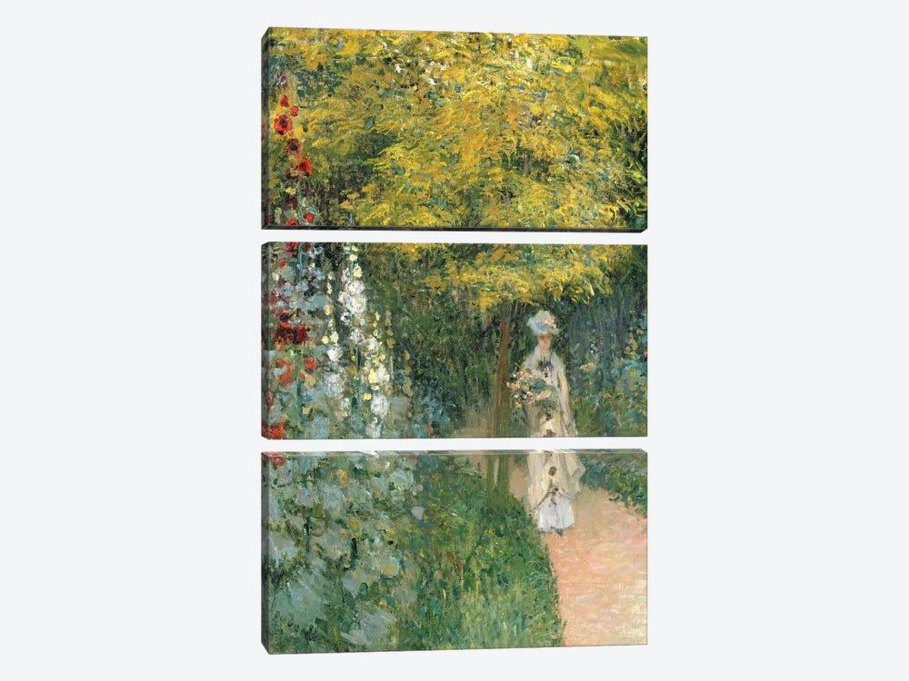 Rose Garden, 1876  by Claude Monet 3-piece Art Print