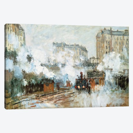 Exterior of the Gare Saint-Lazare, Arrival of a Train, 1877  Canvas Print #BMN2842} by Claude Monet Canvas Artwork