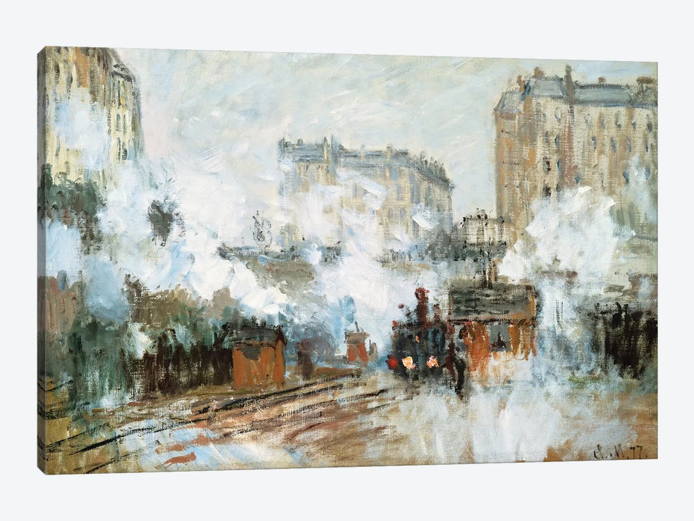 Exterior of the Gare Saint-Lazare, Arrival of a Train, 1877  by Claude Monet 1-piece Canvas Wall Art