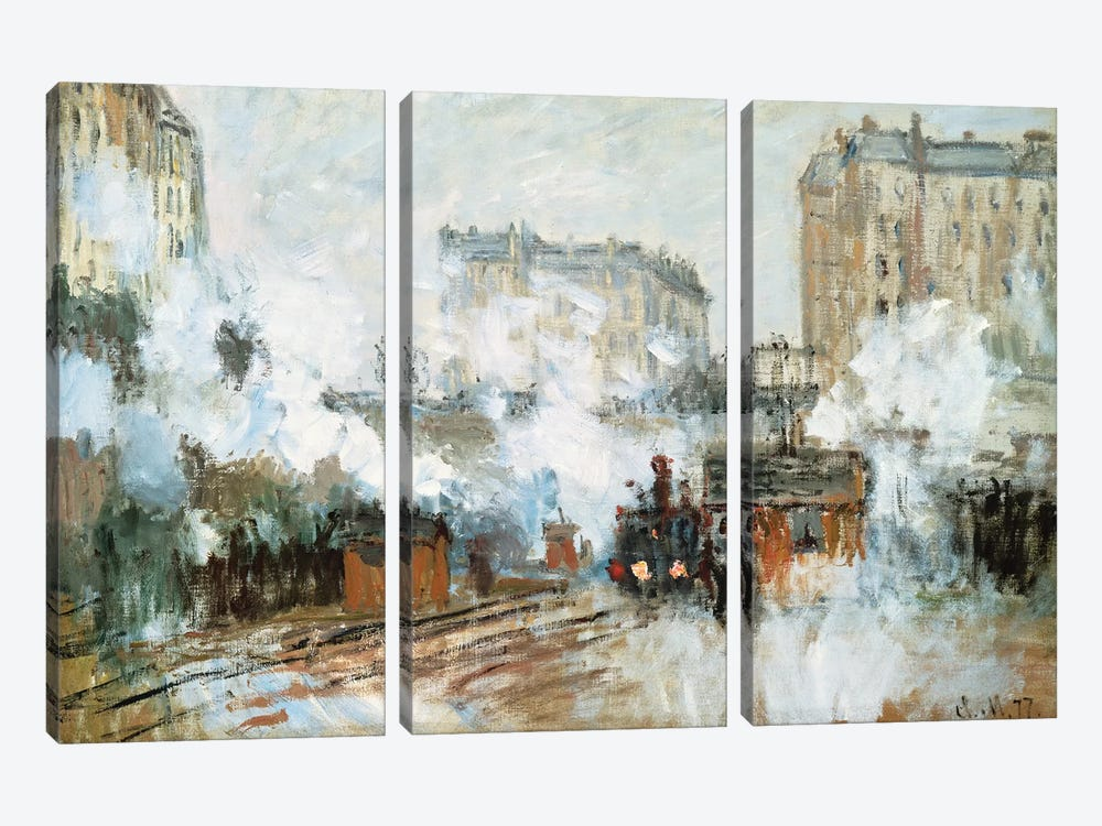 Exterior of the Gare Saint-Lazare, Arrival of a Train, 1877  by Claude Monet 3-piece Canvas Wall Art