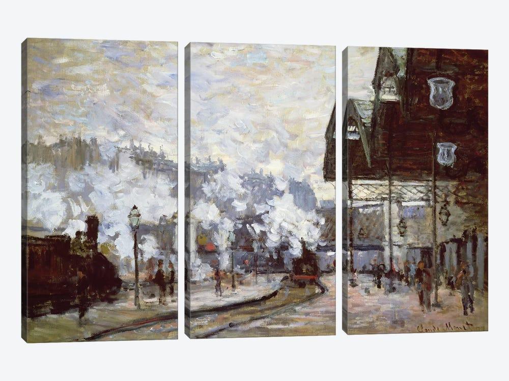 Gare Saint-Lazare, Paris, 1877  by Claude Monet 3-piece Canvas Art Print