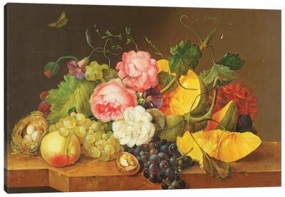 Still life with Flowers and Fruit, 1821  Canvas Art Print