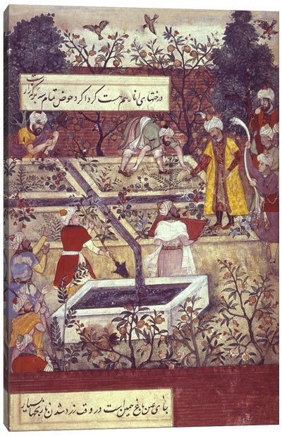 Emperor Babur and his architect plan the Bagh-i-Wafa near Jalalabad, from the 'Baburnama'  Canvas Print #BMN285