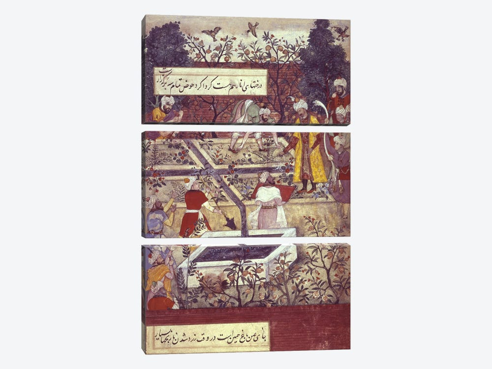 Emperor Babur and his architect plan the Bagh-i-Wafa near Jalalabad, from the 'Baburnama' 3-piece Art Print