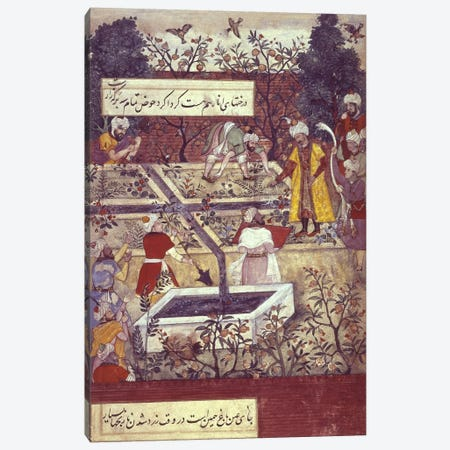 Emperor Babur and his architect plan the Bagh-i-Wafa near Jalalabad, from the 'Baburnama'  Canvas Print #BMN285} by Unknown Artist Canvas Art Print