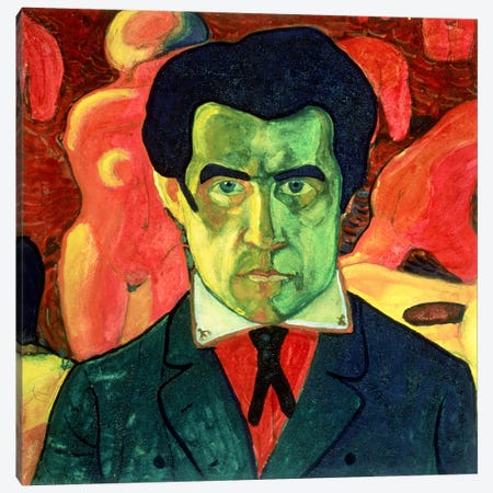 Self Portrait, 1908  3-Piece Canvas #BMN2869} by Kazimir Severinovich Malevich Canvas Wall Art