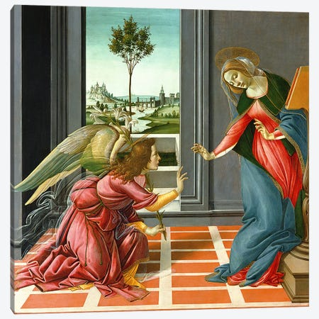 Cestello Annunciation  Canvas Print #BMN2881} by Sandro Botticelli Canvas Artwork