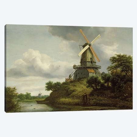 Windmill by a River  Canvas Print #BMN2891} by Jacob Isaacksz van Ruisdael Canvas Art Print