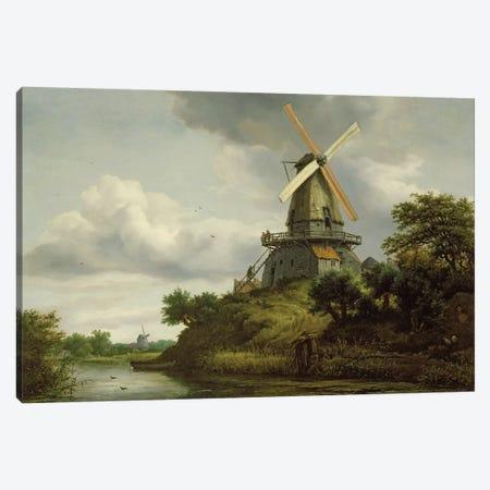 Windmill by a River  Canvas Print #BMN2891} by Jacob Isaacksz van Ruisdael Canvas Art Print